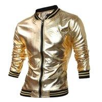 McCKLE Yenilik Erkek Varsity Ceket Metalik Kaplamalı Gece Kulübü Giyim Parlak Ceketler Mandarin Yaka Siyah Altın Gümüş Q2657