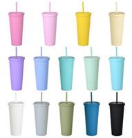 22 узные тощие тумблеры матовые цветные акриловые тумблеры с крышками и соломинкой двойной стены пластиковых резидентов