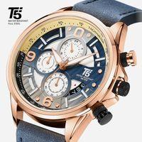 Alta qualità T5 Pelle Band Man Designer Designer Quartz Chronograph Impermeabile Mens Orologi da polso Orologio da polso