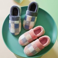 Slippers 2021 Mixed Colors Checkered Women Winter Home Cover Heel Warm Plush Non-slip Outdoor Slides Indoor Bedroom Shoes