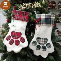 크리스마스 스타킹 모노그램 애완 동물 개 발 선물 가방 격자 무늬 크리스마스 스타킹 크리스마스 트리 장식품 장식 파티 장식 2 스타일 ZC