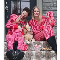 Christmas Outfits Family Matching Pajamas Set Women Baby Kids Sleepwear Nightwear Dad Mom Kid Clothes Red Stripe Women's Tracksuits