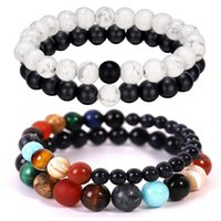 Beaded, Strands Couple Bracelet For Couples Lovers Distance Stone Beads Charms Men Women Planets Yin Yang Stones Valentine Gifts