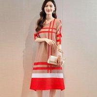 Повседневные платья Changpleat Miyak Pliated Женские платья Мода решетка дизайн O-шеи Свободные плюс размер женщин