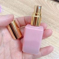 Storage Bottles & Jars 15ml Square Gradient Pink White Glass Perfume Bottle Atomizer Roll On Pendant Empty Containers For Cosmetic Roller