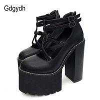 GDGYDH أزياء المرأة مضخات عالية الكعب سستة المطاط وحيد الأسود منصة الأحذية ربيع الخريف جلدية الإناث ترقية 210610