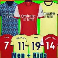 Camisa de futebol Gunners 21 22 versão do jogador de fãs PEPE SAKA THOMAS WILLIAN NICOLAS CEBALLOS TIERNEY 2021 2022 masculino + kit infantil Uniformes quarto 4º