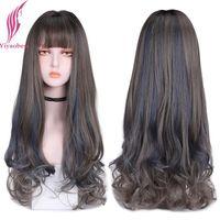 합성 가발 yiyaobess 26inch 자연 긴 물결 모양의 가발 bangs 블루 린넨 그레이 하이라이트 머리카락 perruque femme