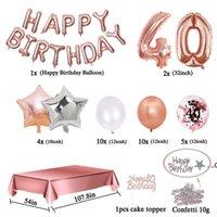 파티 장식 35pcs / 세트 40 생일 장식 장미 골드 년 색종이 풍선 식탁보 40 번째 여자 맨 데코 애니견 FWD9242