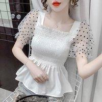 Women's Blouses & Shirts Summer Blouse Fashion O-neck Silk Shirt Vintage Women White Lady Short Sleeves Female Loose Street Cloths 2021