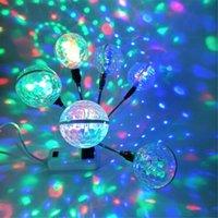 Etkileri Mini USB RGB LED Araba DJ Sahne Çift Sihirli Top, Ses Kontrol Aydınlatma Stautught Parti Işıkları Disko Topu