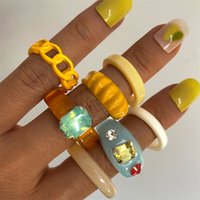 Korea Colorful Acrylic Resin Joint Wide Ring Set for Women Fashion Yellow Resin Chain Drop Oil Ring Y2K Travel Jewelry
