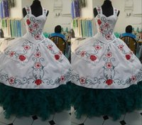 Gorgeous Red Flower Embroidered White Dark Green Quinceanera Dresses Mexican Charra with Straps Satin Ball gown Vestido de Sweet 15Anos XV Party Prom Eveening Dress