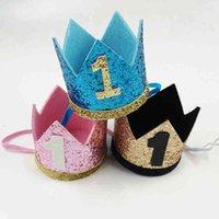 Erkek Mavi Gümüş İlk Kız Altın Pembe Prinity Taç Numarası 1st 2 3 Yaşındaki Parti Şapka Glitter Doğum Günü DIY Dekor