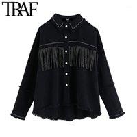 TRAF Kadınlar Şık Püskül Boncuklu Boy Denim Ceket Kaban Vintage Moda Uzun Kollu Yıpranmış Trim Giyim Şık Gevşek Tops1