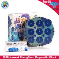 Shengshou ساعة لغز المغناطيسي الأزرق المغناطيسي على مدار الساعة مكعب شفاف سينجسو المغناطيسي ساعة الذكاء العتاد الأطفال اللعب