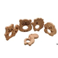 Детские деревянные Tehter Nature Charsing Baby Wood Toething Toy Toy Wood Сова Собака Ежик Форма Сойцы жевательные подвески DIY Аксессуары DHF6397