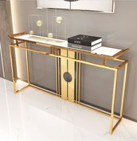 Living Room Furniture Chinese-Style Luxury Stainless Steel Marble Porch Table Club Hotel Side View Console Cabinet