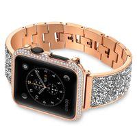 Luxus-Metall-Diamantband für Apple-Uhr-Band 6 5 4 44 / 40mm Edelstahl-Armband für IWATCH 5 4 3 42 / 38mm Frauen-Uhrenband