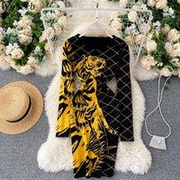 WOHERB Seksi Bodycon Örme Elbise Kadın Kaplan Baskı Vintage Kazak Elbiseler Kadın Mini Streç Kalem Vestidos De Mujer 2021 Casual