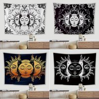 태양과 달 환각 태피스트리 다양 한 패턴 고품질 도매 인쇄 된 검은 흰색 신비한 태피스트리 벽 매달려 장식