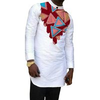 Dashiki Design Men's Tops Full Sleeve Patchwork Shirts Stand Collar Wax White Customized African Party Wear Ethnic Clothing