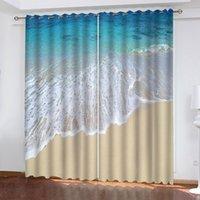 3D perde özel boyutta dalgalar plaj fotoğraf oturma odası yatak odası tam gölgeleme ısı yalıtım penceresi
