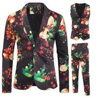 Erkekler Takım Elbise Blazers Erkekler Rahat 3 Parça Set Güzel Noel 3D Baskı Blazer Ceketler Yelek Pantolon Parti Çiçek Ceket Pantolon Yelek
