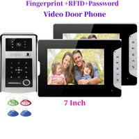 "7 ""LCD Video Porta Telefone Intercom System Fingerprint Password Password RFID Access Control Kit Telefones de câmera ao ar livre"