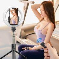 4 in 1 drahtloser Bluetooth-kompatibler Selfie-Stick-Handheld-Remote-Shutter 1.6M-Stativ mit 8-Zoll-LED-Ring-Fotografie-Licht
