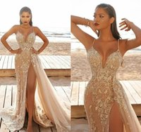 2022 Designer Lace Wedding Dress Gorgeous Champagne Sexy Bridal Gowns Appliqued Thigh High Slits Spaghetti Straps Marriage Dresses Summer Beach Overskirt