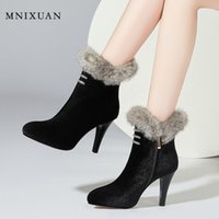 Boots Winter Shoes Women High Heels Platform Ankle 2021 Suede Sexy Crystal Thin With Fur Ladies Black Booties Size 45