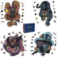 3D Puzzle di legno Mythical Animal Puzzle Boutique Confezione regalo Imballaggio fai da te Artigianato regalo per bambini adulti Fabulous Montessori Giocattolo regalo 210804