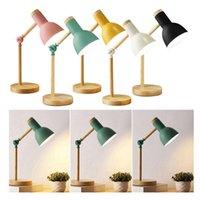 Tischlampen stilvolle hölzerne Eisen-LED-Multi-Joint-Leselampe Task-Licht flexibel 3W Nordic-Klappschreibtisch-Schlafzimmer Augenschutz