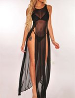 Women's Bikini Swimsuit Cover up Sundress Beach Wear Mesh Sheer Long Dress Summer Bathing Suit Holiday One Piece Sarong Pareo T200517