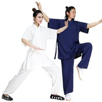 Sommarkläder Linen Shaolin Monk Kung Fu Robe Martial Arts Tai Chi Uniforms Wushu Wing Chun Suit Unisex Shortsleeves