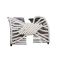 Mulheres artesanais pérola frisada jóias mágicas cabelo pentear clipe double 875b clipes barrettes