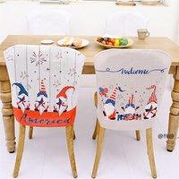 Gnomes silla cubierta de EE.UU. Patrón patriótico de la independencia de EE. UU. Día patriótico sin rostro Dwarf Comedor Cocina Restaurante Sillas Decoración FWA4654