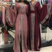 Ethnic Clothing Luxury Diamond Jalabiya Dubai Abaya KImono Kaftan Fashion Muslim Big Flare Sleeve Cardigan Robe With Scarf &Tassel Belt 2021