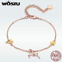 Enlace, cadena wostu genuin 925 plata esterlina corriendo enlace de ciervo mujeres pulseras con aniversario de flor amarillo Joyería de moda DAB002