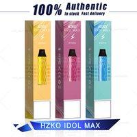 2021 새로운 도착 100 % 원래 Hzko 우상 최대 일회용 vape 펜 2000 퍼프 스트레이터 키트 1100mAh 6.5ml 18 다른 색상