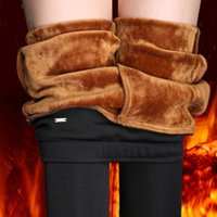 Lady Casual Winter Leggings Velvet Warm Leggings High Waist Pants Women Snow Hot Leggings Plus Size S~4XL 210415
