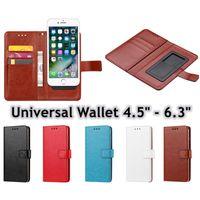 Universal Pull-flikfodral Wallet PU Flip Leather Case Card Slot för 4.5 - 6.3Inch Mobiltelefon iPhone 12 Samsung S21 LG HTC Nokia Sony Huawei Xiaomi RedMi Not 9 10
