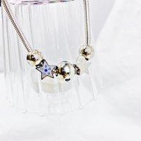 Collar de encanto de lujo para mujeres que desean estrella con perlas de cristal Femme DIY Jewelry Pulseras al por mayor Pendientes