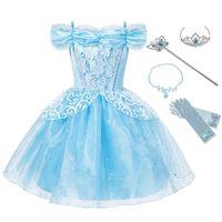 Yofeel 여자 신데렐라 공주님 복장 복장 복장 어린이 Littry Blue Sequined Ball Gown 어린이 여름 파티 생일 멋진 의류 T200709