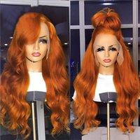 Lace Wigs SimBeauty Brazilian Virgin Hair Ginger Orange Front Wig Human Colored Pre Plucked Body Wave