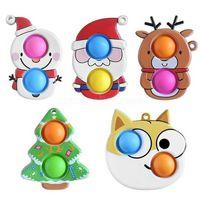 DHL Novel Cartoon Fidget Sensory Bubbles Push Bubble Key Ring Snowmen Santa Clause Reindeer Elk Christmas Xmas Tree Dog Keychain