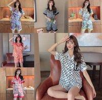 21ss Sweet Cute Strawberry Red Green Stripe Printed Womens Pajamas Luxury G etters Print Summer short sleeves Sleepwear Satin Girls Casual Shirt Home Clothing Sets