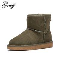 GRWG 호주 여성 스노우 부츠 100 % 정품 소 가죽 가죽 발목 따뜻한 겨울 여성 신발 대형 크기 34-44 211015