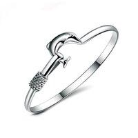20pcs / lot cadeau chaud usine Prix 925 Silver Charm Bracelet Fine Noble Mesh Dolphin Bracelet Fashion Bijoux 1304